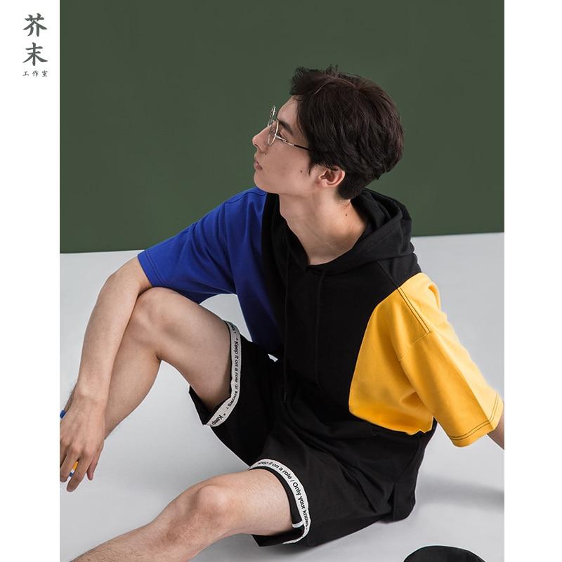 JIEMO Colour patchwork short sleeve men hooded hoodies oversized streetwear t-shirt for men cool rock boys hoody 8156S