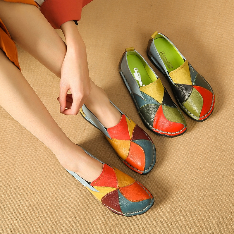 Fashion Genuine Leather Flat Shoes Women Loafers Flats Ballerina Shoes Summer Platform Shoes Ladies Slip On Zapatos De Mujer цена