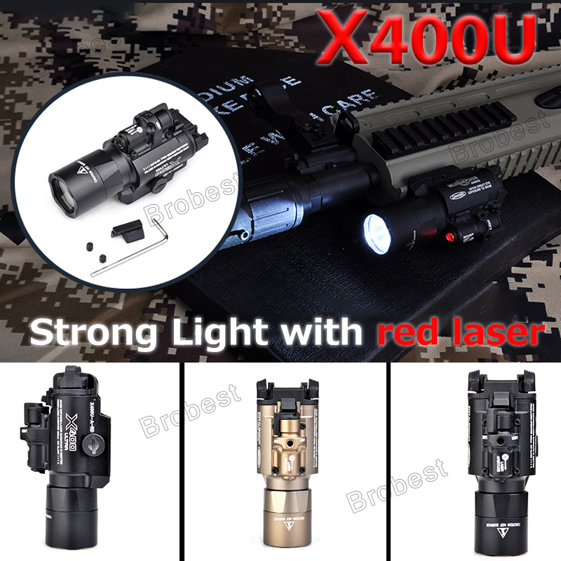 Airsoft Surefir X400 Ultra Flashlight Red Laser 20mm Picatinny Weaver Rail Mount 450 lumen X400U Gun Light Airsoft Surefir X400 Ultra Flashlight Red Laser 20mm Picatinny Weaver Rail Mount 450 lumen X400U Gun Light
