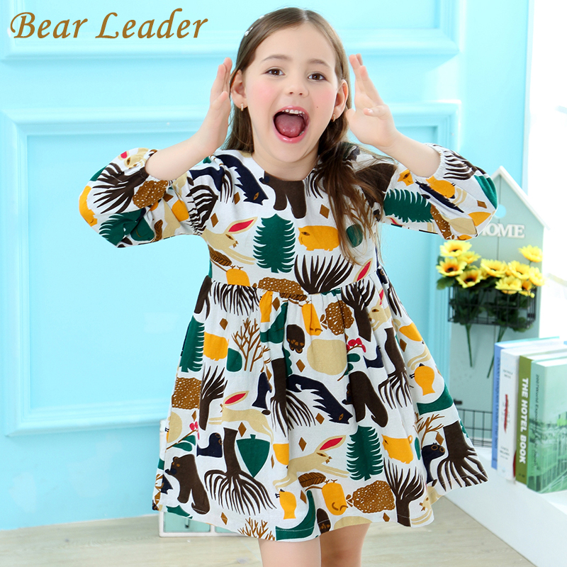 Bear Leader Girls Dress 2017 New Autumn England Style Girls Clothes Long Sleeve Cartoon Forest Animals Graffiti for Kids Dresses