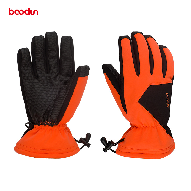 BOODUN Winter Warm Ski Gloves Waterproof  Windproof Snowboard Gloves With Anti-slip Palm PU Leather Elastic Band Skiing Gloves