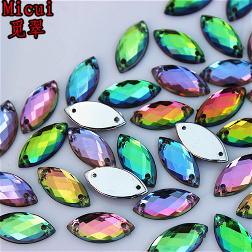 Micui 100pcs 7*15mm Rainbow Color Horse eye Acrylic crystal Rhinestones For Sewing Wedding Bags Stones Accessores Sew on ZZ372A