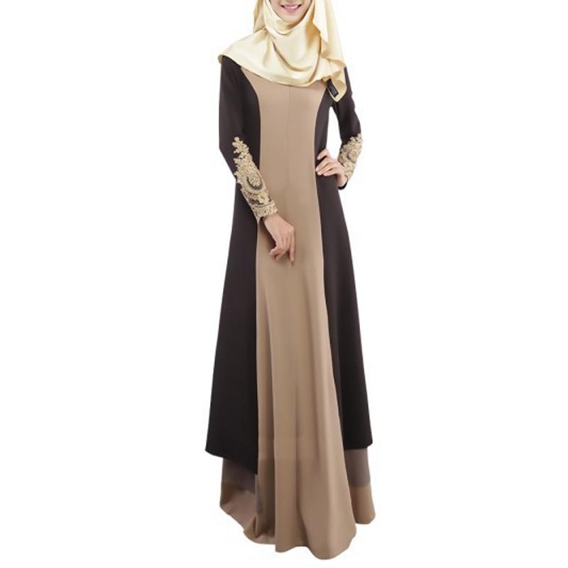 new 2018 vintage elegnat long dress women Muslim Kaftan Abaya Jilbab Islamic Women Long Sleeve high neck patchwork Dress lady