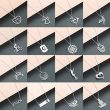 Todorova Stainless Steel Chain Bijoux Femme Moon Star Dog Tag Phoenix Hummingbird Yoga Note Angel Wave Chokers Necklaces Women(China)