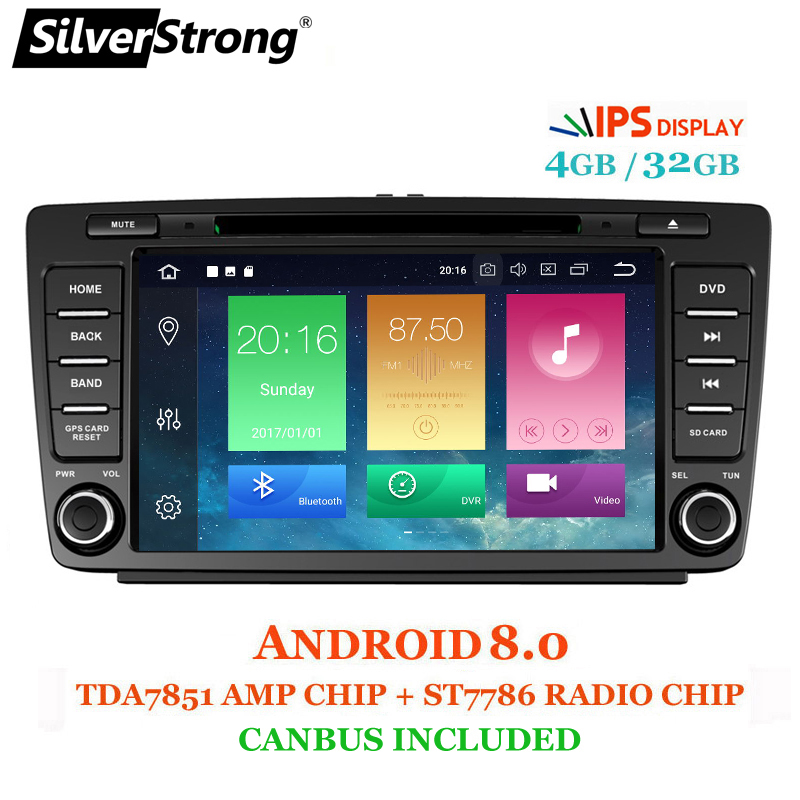 SilverStrong IPS Voiture 2din Octavia Android8.1-8.0 8 pouces VOITURE DVD pour Skoda Octavia 2 A5 DSP avec 4g + 32g CANBUS Octavia2 DAB + OBD