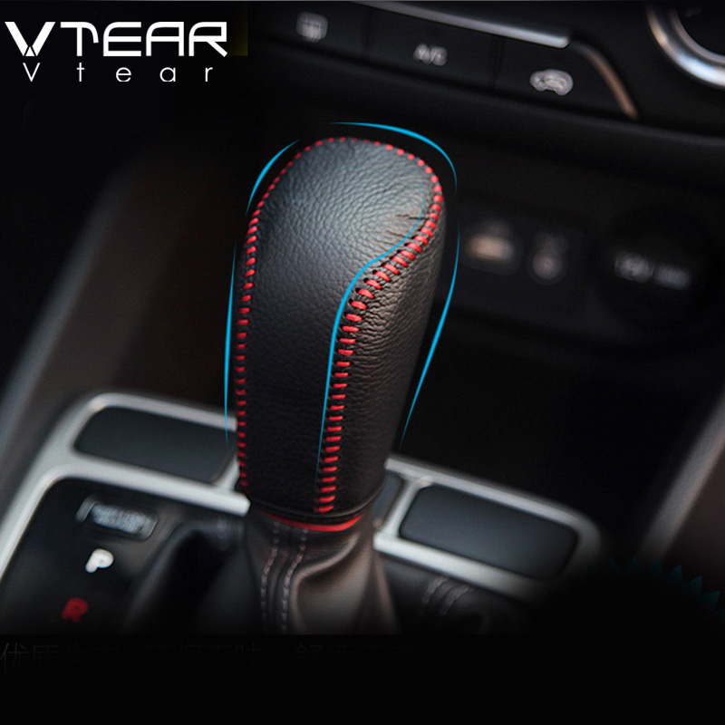 Vtear accessories for hyundai creta handbrake cover&gear head covers interior Styling leather Hand-stitched shift knob 2014-2018