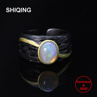 SHIQING Ethiopian opal ring, 925 sterling silver vintage ring for man