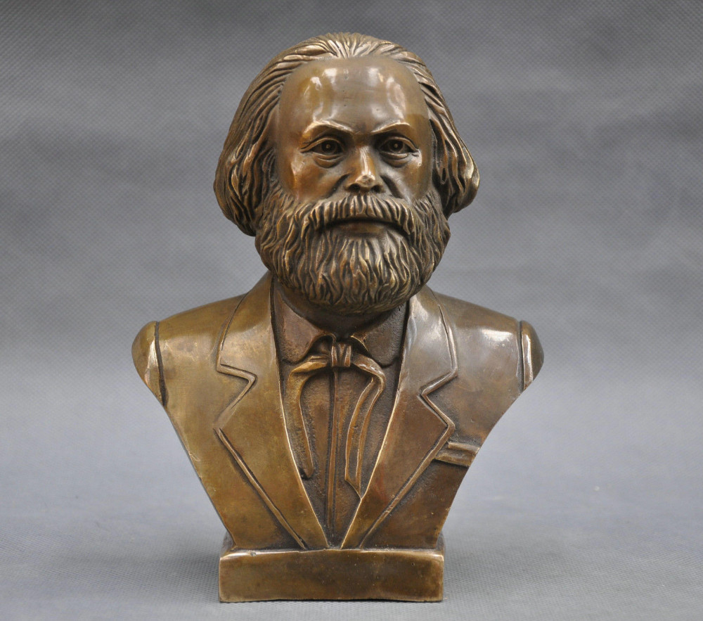 German Great Communist Carl Marx Bust Bronze Statue.