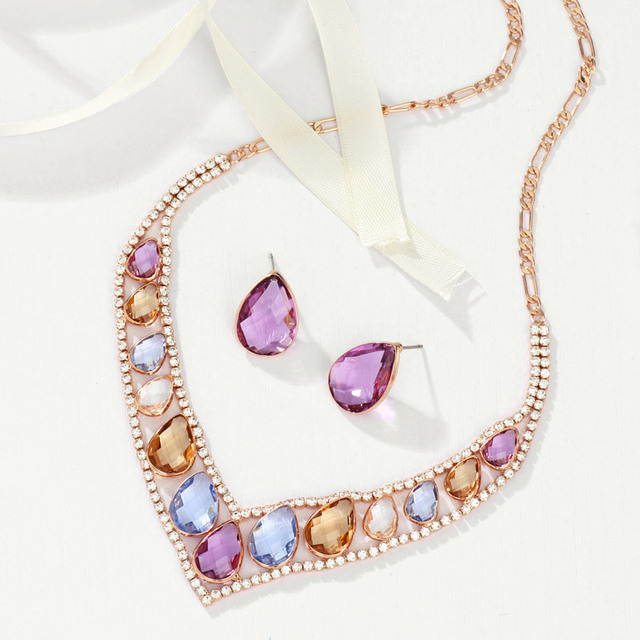 Neoglory Colorful Crystal Rhinestones Rose Gold Plated Fashion Jewelry Sets V Collar Bead Necklaces Earrings 2017 For Women JS9