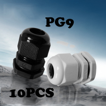 10PCS PG9 Cable waterproof joint Black Or White Plastic Connector Waterproof Cable Glands Ip68 China