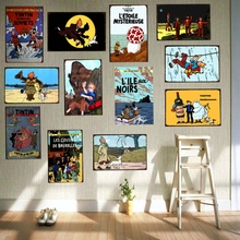 Tintin Cartoon Movie Tin Sign Metal Plate Iron Painting Kids Room Wall Bar Coffee Home Art Craft Decor 30X20CM DU-1043
