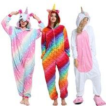 Kigurumi Unicorn Pajamas Women Winter Animal Cartoon Stitch Sleepwear onesie Sets Men Unisex Adult Flannel Pijama Hooded pyjamas
