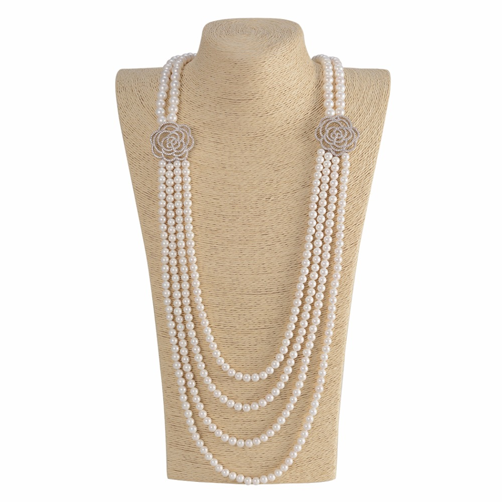 Multilayer Pearl Necklace For Couple Lover Statement Pearl Necklace Women Mother Gift Handmade Beaded Necklaces P79 купить в Москве 2019