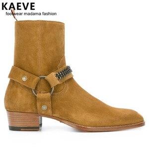 Kaeve/новый стиль; высокое качество; дизайнерские золотые высокие ботинки; Мужская обувь; модные брендовые мужские ботинки «Челси» в западном ...