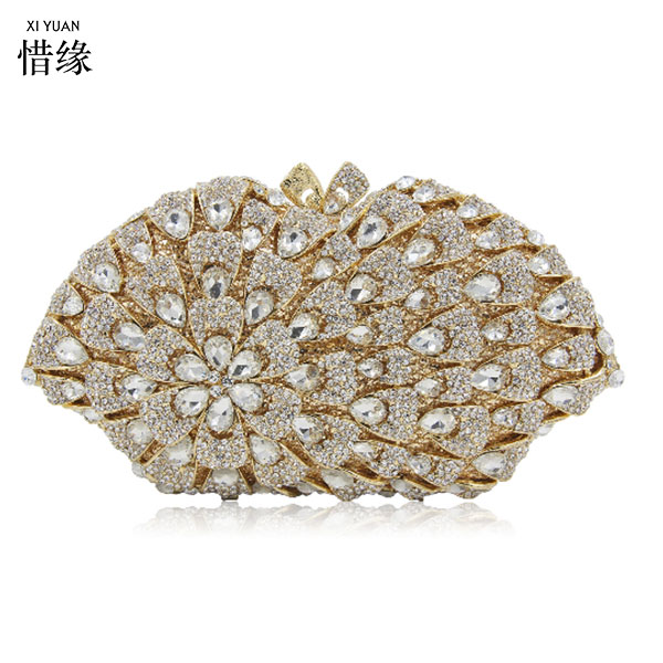 XIYUAN BRAND Newest Flower Evening Crystal Bag Golden Stones rhinestone Clutch Evening Bag Female Party Purse Wedding Clutch Bag
