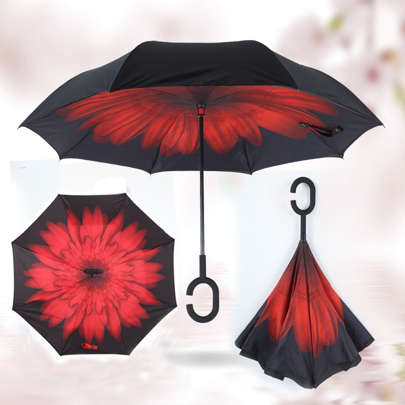 Double Layer Inverted Umbrellas Solid Color Rainy Sunny Umbrella Windproof Straight Umbrella for Adults Outdoor Travel Supplies