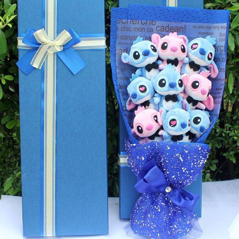Dessin animé jouets en peluche point artificiel beaux Festivals cadeau Bouquet avec de fausses fleurs pour la saint-valentin fête de mariage Decora