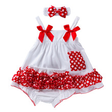 Baby Girl Clothes Dresses Party and Wedding for 6-24M Newborn Bow Bud Dress Match Same Paragraph Bloomers