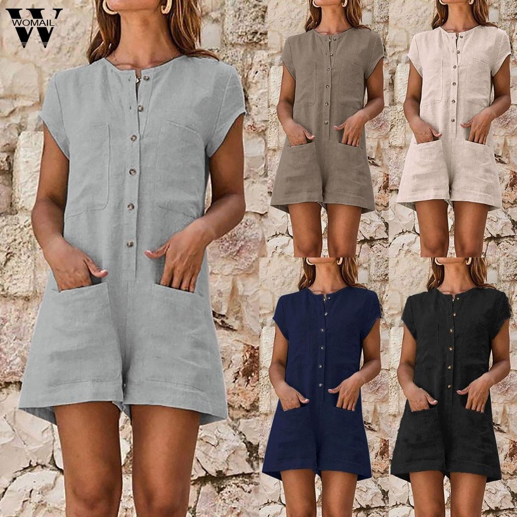 Womail bodysuit Women fashion Summer Boho Short Sleeve Playsuit Short Jumpsuit Pocket Romper Vacation Casual holiday 2019 M530