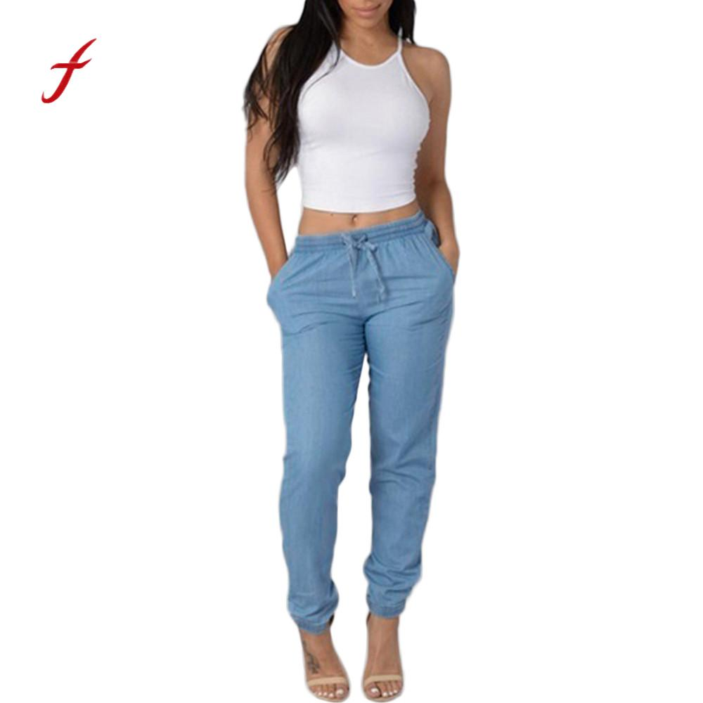 2018 Feitong Brand Women Clothing Newest Elastic Waist Casual Pants High Waist Jeans Casual Blue Denim Pants Roupas Femininas