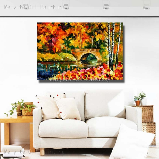 100% Hand Painted Bright Landscape Oil Painting Beautiful Oil Paintings On  Canvas For Living Room