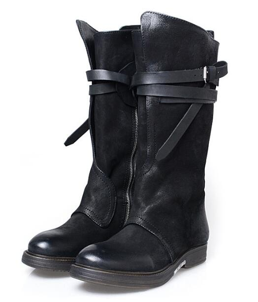 fashion real Leather belt buckle thick bottom knee high boots retro knight boots flat boots woman punk style high boots low heel