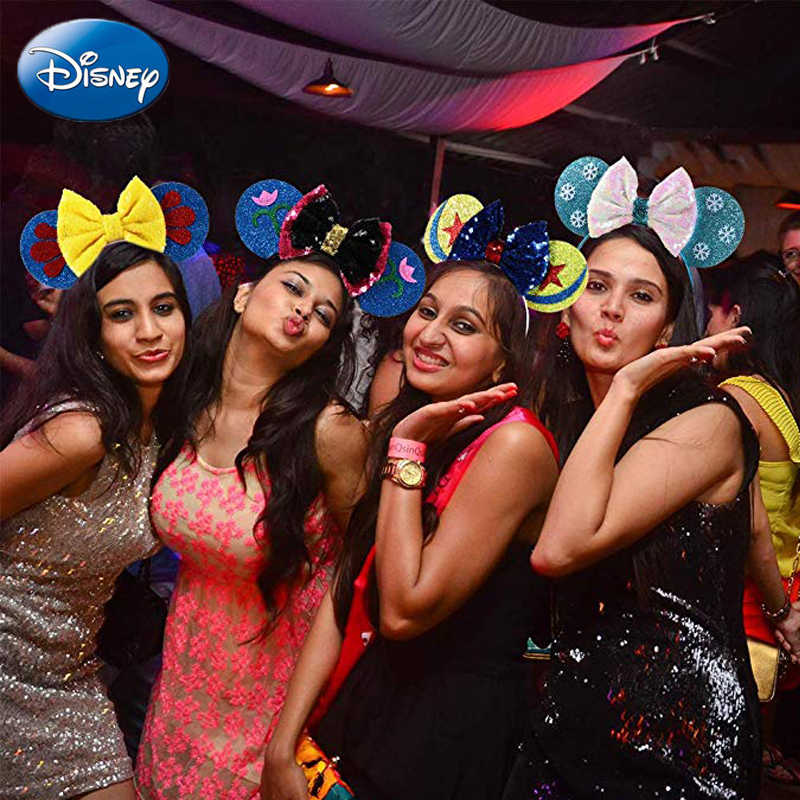 Congelados Disney Cabeça Mickey Minnie Orelhas de Rato Cabeça Cocar Sequin Meninas Cosply Cabelo HairBands presente de Aniversário Brinquedos de Pelúcia Presente Do Miúdo
