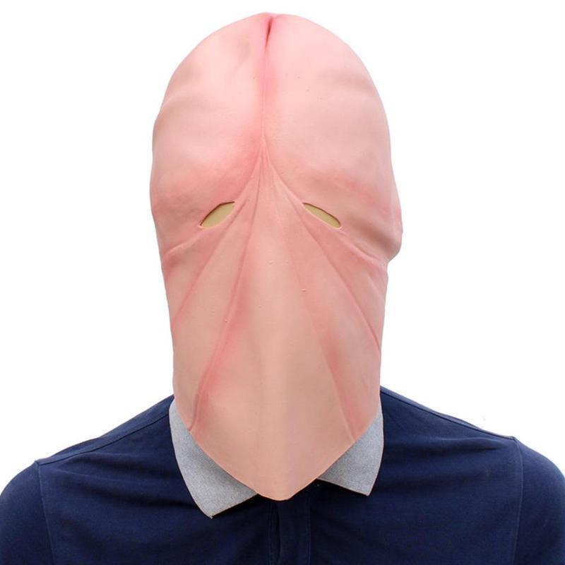 Funny Natural látex pene Dick Head Full Face Cosplay Prop Halloween máscara casco partido proveedor