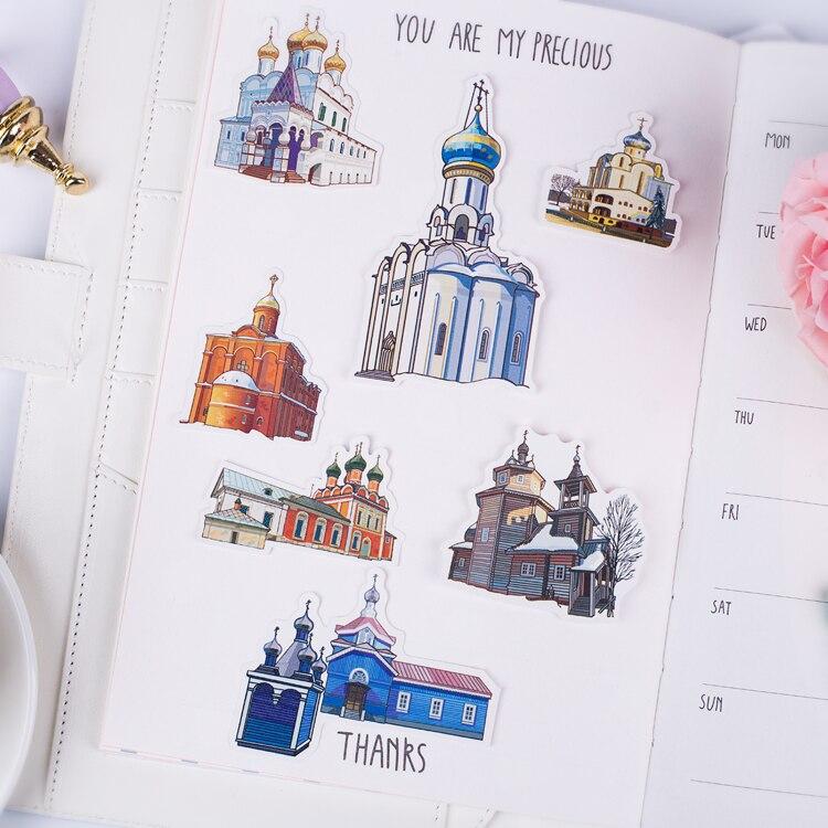 Купить с кэшбэком 57pcs/pack Cute building for phone car Label Decorative Stationery Stickers Scrapbooking DIY Diary Album toy Stickers Children