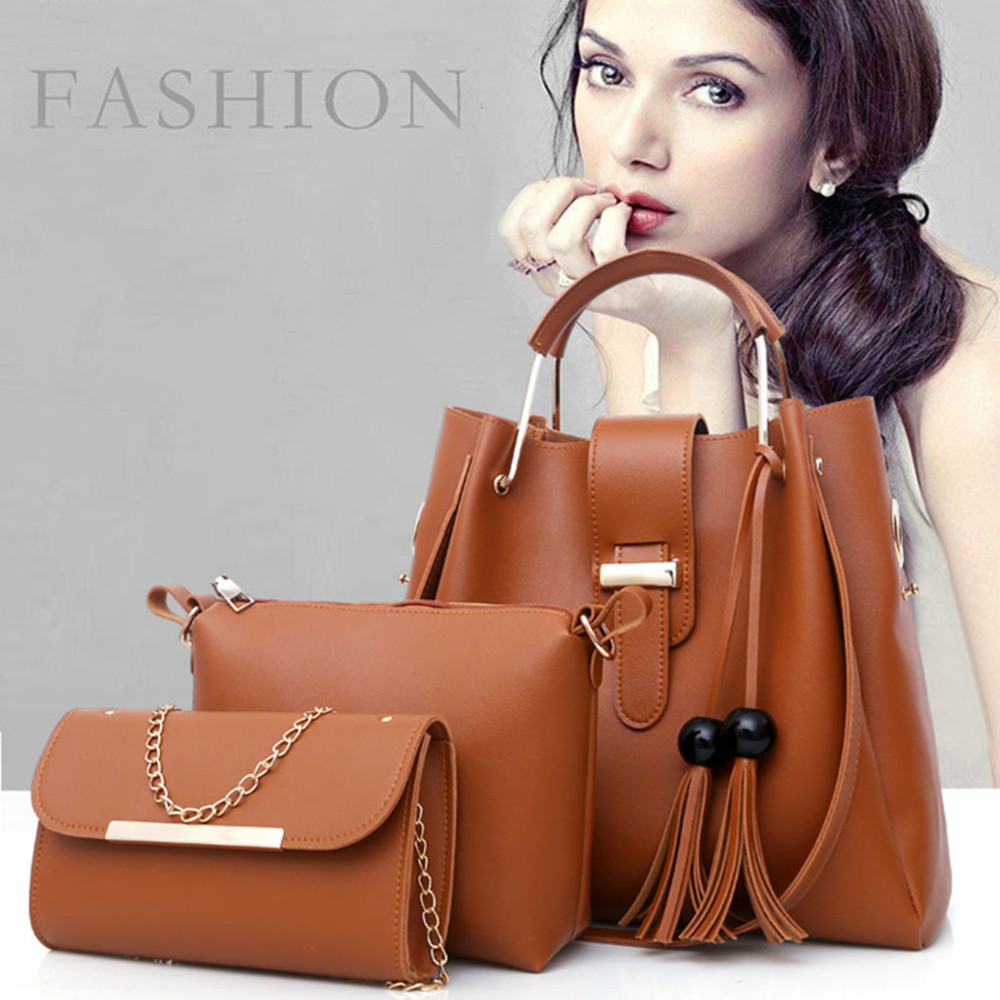 4955e50e29e9 Aliexpress.com : Buy Aelicy Women Shoulder Bag 3Pcs Fashion Leather Tassel  Girls Crossbody Bag Lady Handbag bolsa feminina dropship new 2018 hot Sale  ...