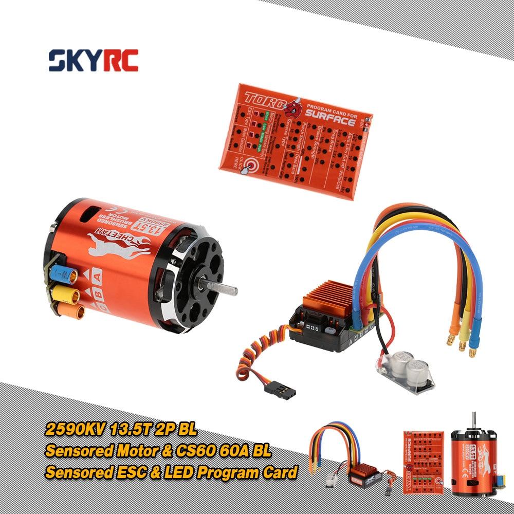 SkyRC 13.5 T 2590KV 2 P Brushless Sensored/moteur sans capteur + CS60 60A sans balai esc + Carte de Programme pour 1/10 1/12 buggy Voiture De Tourisme