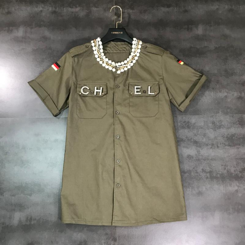 2019 Summer New Letter Brooch Rework Pearl Rhinestone Chain Short-sleeved Shirt