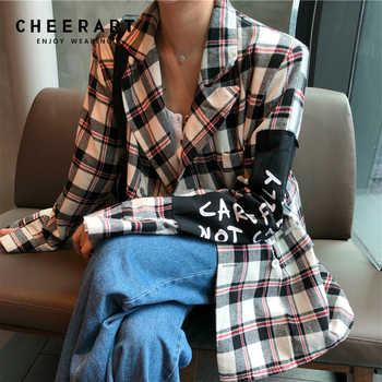 Cheerart Plaid Blazer Women Blazers And Jackets Coat Chic Korean Casual Blazer Blue Red White Patch Female Blazer Clothes - DISCOUNT ITEM  40% OFF All Category