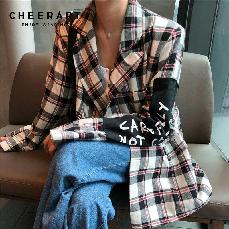 Cheerart Plaid Blazer femmes Blazers et vestes manteau Chic coréen jolie pochette bleu rouge blanc Patch femme Blazer vêtements