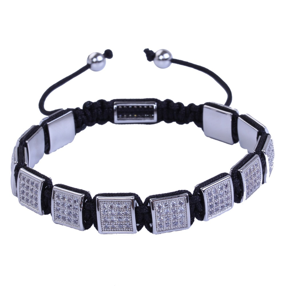 Name Brand Bracelets: Men New Brand Name Braiding Bracelets Pave Setting White