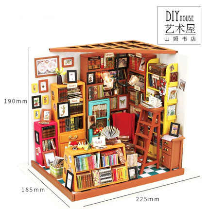 DG102 Miniatura Wooden Doll House Furniture Dollhouse Miniature stroe Puzzle Toy Model Kits Toys-Sam bookstore