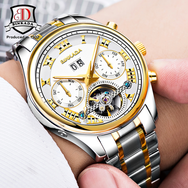 BINKADA Automatic Tourbillon font b Watches b font Men Day Date Complete Calendar Stainless Steel Band