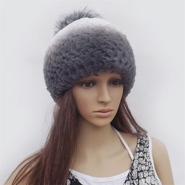 Real Fur Hat Bonnet For Women Headdresses Female Brand Fur Beanie Women's Cap 2016 Winter Rabbit Fur Beanies cap