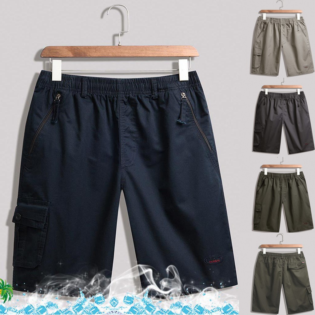 CHAMSGEND Shorts Sweatpants Zip-Pocket Men's Summer Fashion Casual Solid with Loose