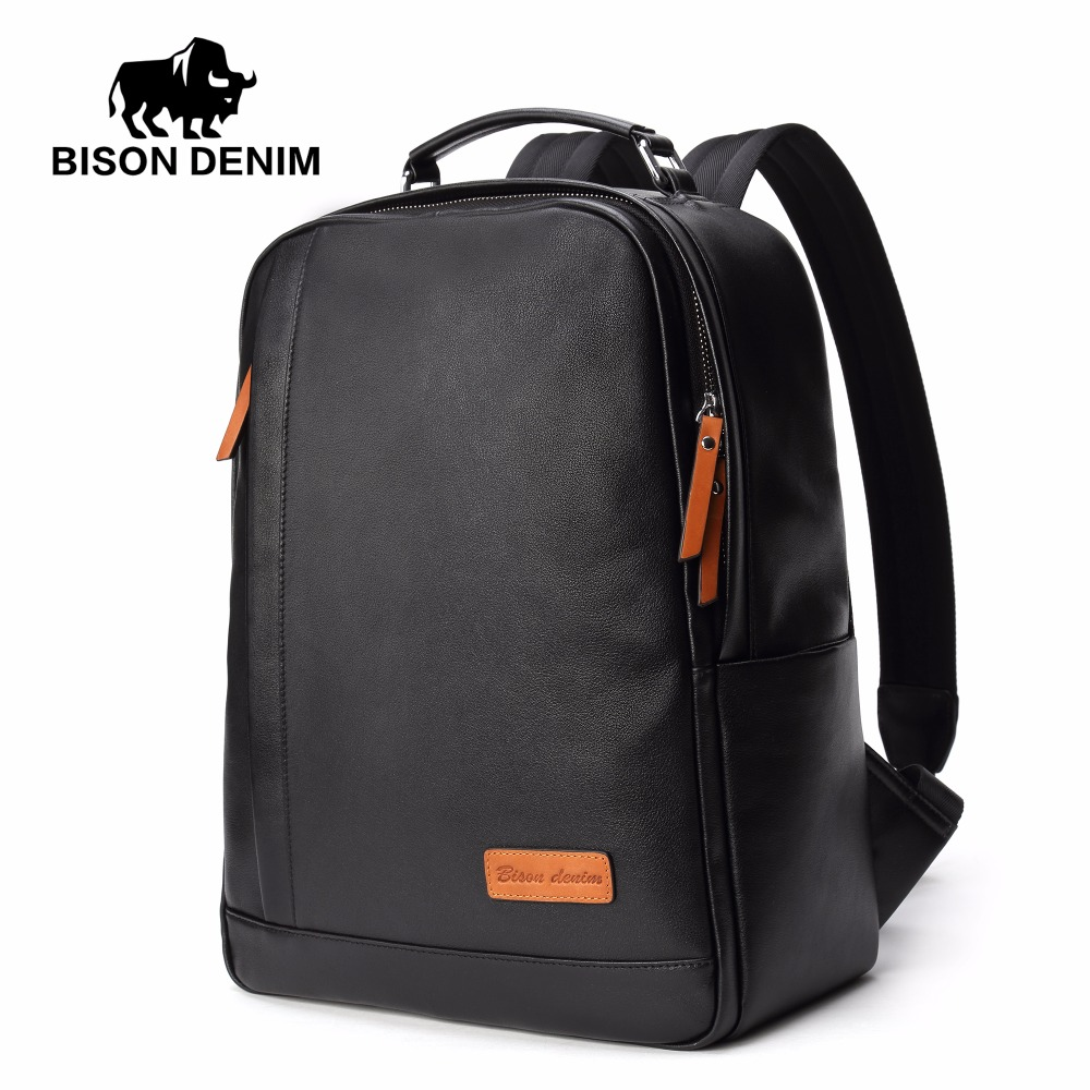 BISON DENIM Fashion Leather Backpack 14 inch Laptop Backpacks For Teenager Male School Backpack  Large Capacity Men N2696-1B large size 29 42 young men jeans hole patchwork denim harem pant male fashion casual denim pant trousers