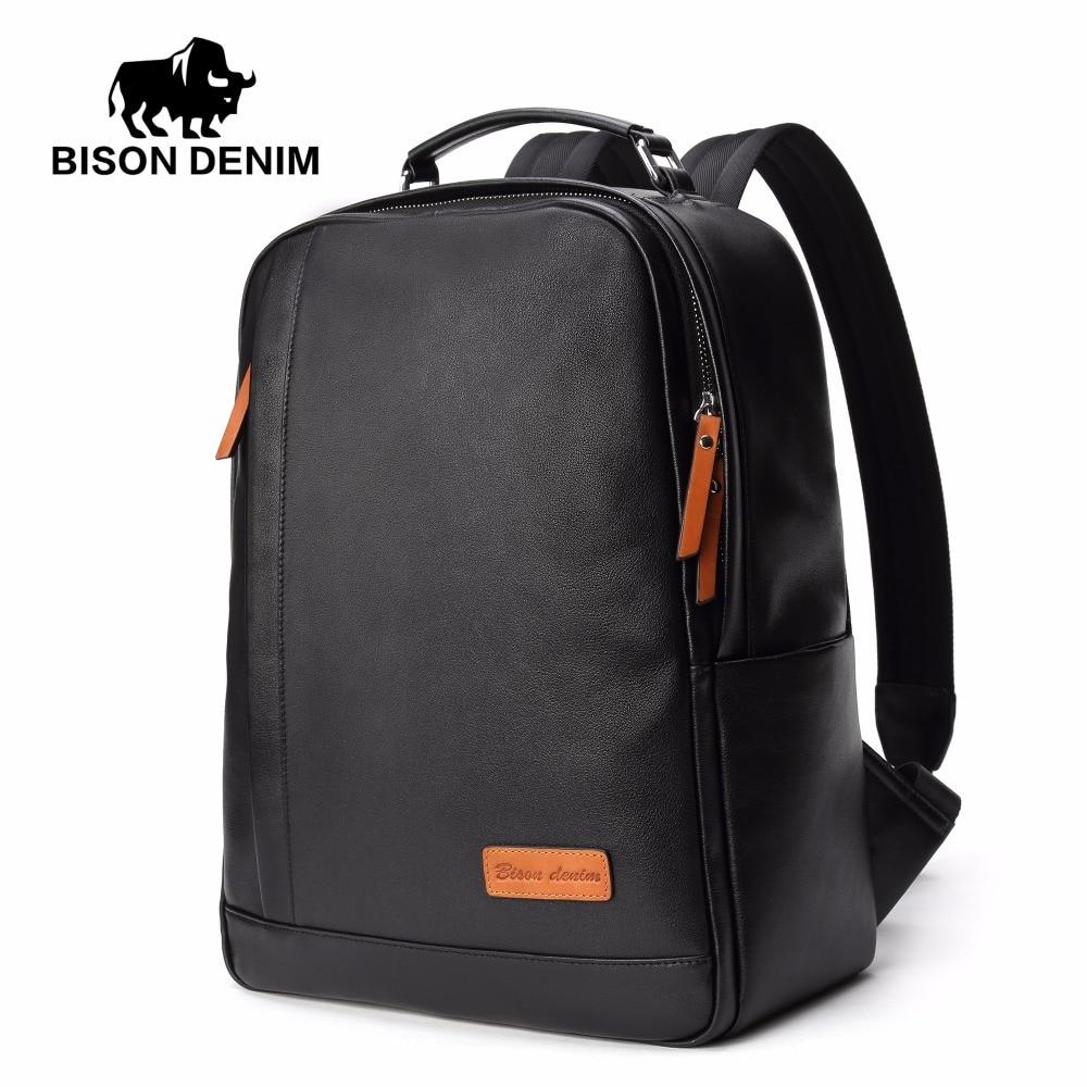 BISON DENIM Fashion Leather Backpack 14 inch Laptop Backpacks For Teenager Male School Backpack  Large Capacity Men N2696-1B cool leopard lion men backpack male travel large capacity backpacks 17 inch men s laptop back pack teenager boys new school bags
