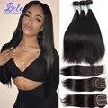 7A peruvian straight virgin hair with closure peruvian straight hair 3 bundles with closure peerless virgin hair with closure