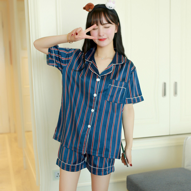 Womens   Pajamas     Sets   Short-Sleeve Satin Shirts And Shorts   Pajama     Set   2018 New Striped Navy Pink Sexy   Set   Sleepwear Summer Women