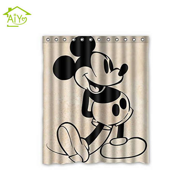 AiYa Vintage Mickey Mouse Cartoon Seri Waterproof Mildew Shower Curtain  Customized Home Decors Bathroom Curtains 160x180cm