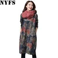 NYFS 2018 Neue Frühling Herbst Kleid Baumwolle Vintage Frauen langes Kleid Lose große Größe Vestidos Robe Elbise