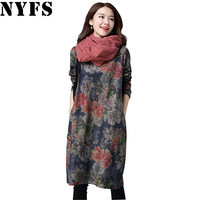 NYFS 2017 New Spring Autumn Dress Cotton Vintage Women Long Dress Loose Large Size Vestidos Robe