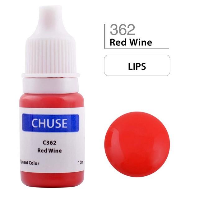 Chuse C362 Semi-permanente Maquiagem Tinta Pigmentada Micro Pigmento de Cor para Lipliner & Full Cosméticos Vinho Tinto lábios tatuagem