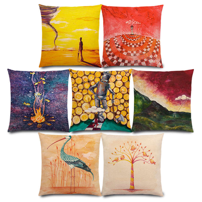 New Fantasy Art Oil Painting Fable Story Magical Imagination World Fairy Tale Colourful Cushion Cover Sofa Pillow Case