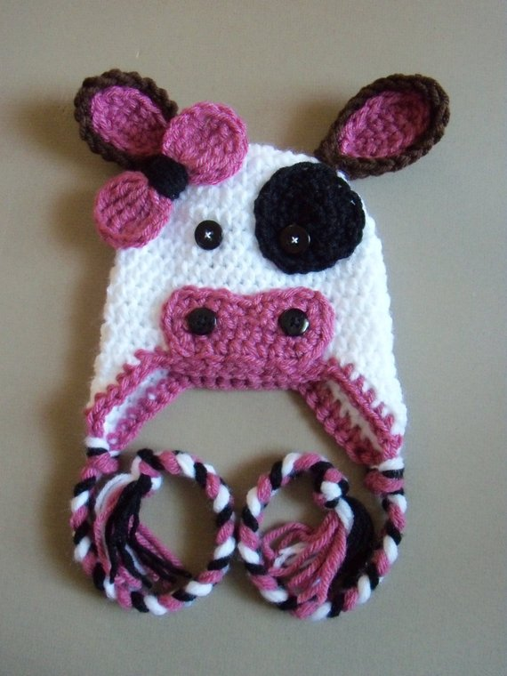 Free Shipping Lovely Crochet Baby Dairy Cattle Hat Cartoon