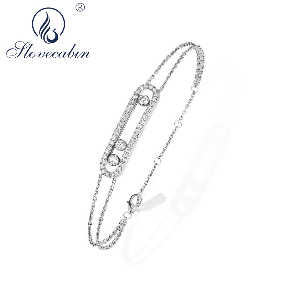 Slovecabin Neue Ankunft Echt 100% 925 Sterling Silber Bewegt Stein Armband Mit Klaren CZ Für Frauen Marke Frankreich Schmuck Großhandel